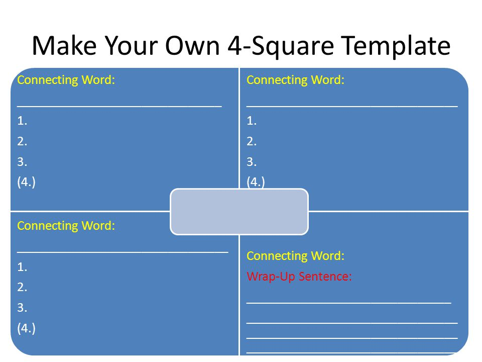 Make Your Own 4-Square Template Connecting Word: _______________________________ 1.
