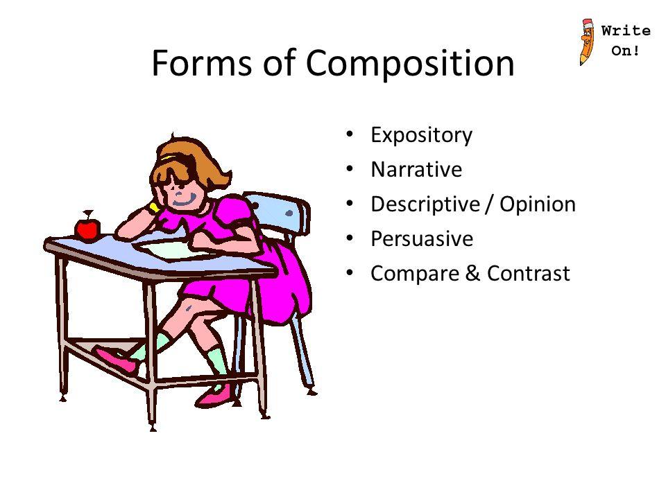 Forms of Composition Expository Narrative Descriptive / Opinion Persuasive Compare & Contrast