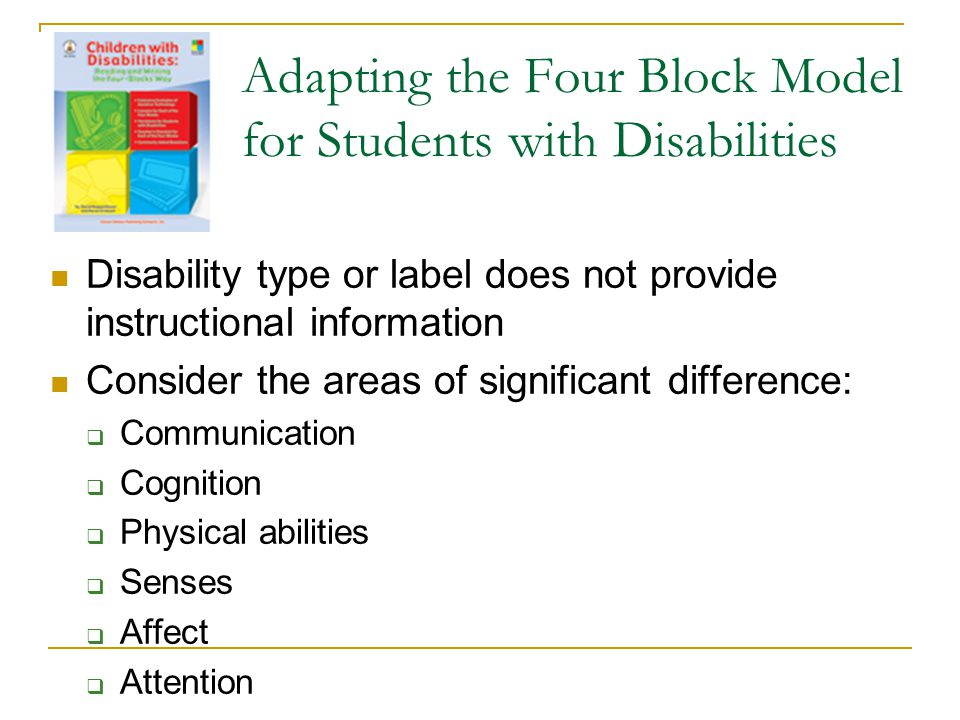 Adapting the Four Block Model for Students with Disabilities Disability type or label does not provide instructional information Consider the areas of