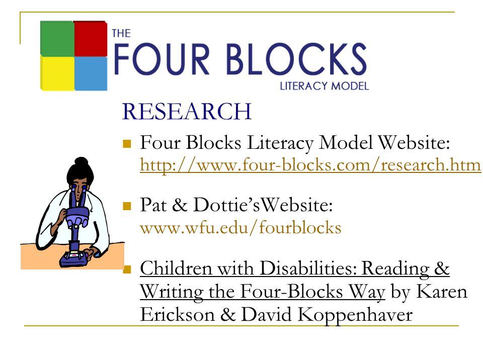 RESEARCH Four Blocks Literacy Model Website: http://www.four-blocks.com/research.htm http://www.four-blocks.com/research.htm Pat & Dottie'sWebsite: ww