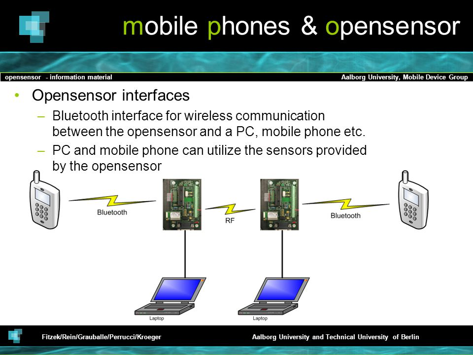 opensensor - information materialAalborg University, Mobile Device Group Fitzek/Rein/Grauballe/Perrucci/KroegerAalborg University and Technical University of Berlin mobile phones & opensensor Opensensor interfaces –Bluetooth interface for wireless communication between the opensensor and a PC, mobile phone etc.