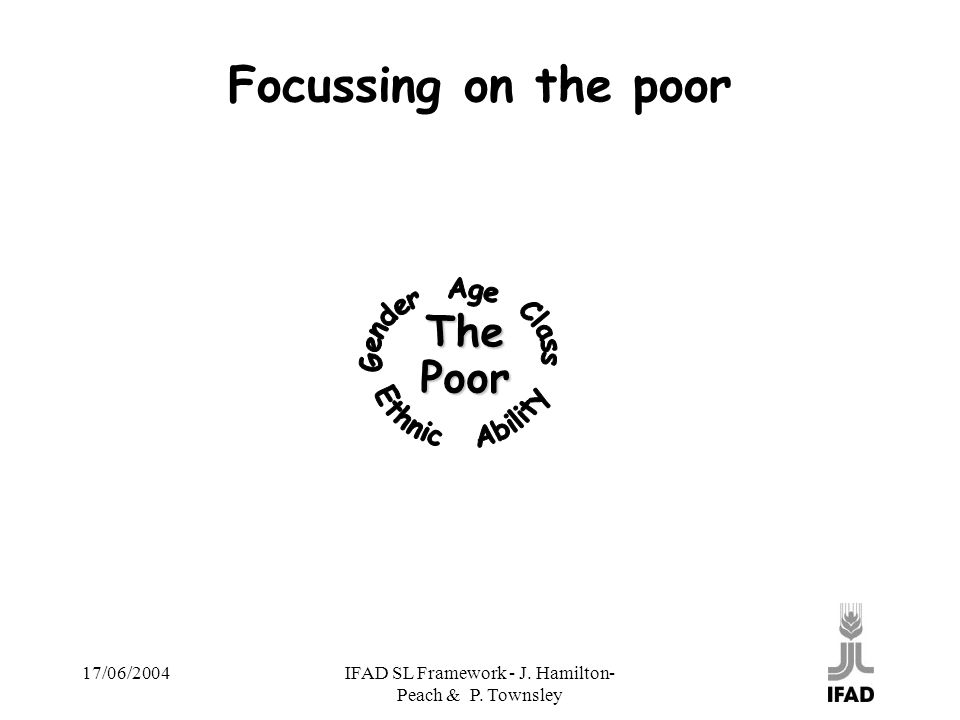 17/06/2004IFAD SL Framework - J. Hamilton- Peach & P. Townsley Focussing on the poor ThePoor