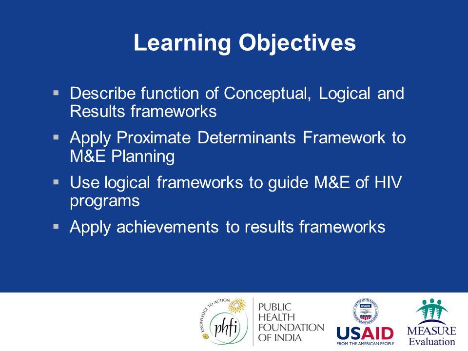 Session Overview  Function of frameworks  Conceptual Frameworks  Proximate Determinants  Logic Frameworks  PMTCT program implementation, GFATM  Results Frameworks  PEPFAR  GFATM M&E Reporting Framework  Activity  Developing a logic framework for an HIV program