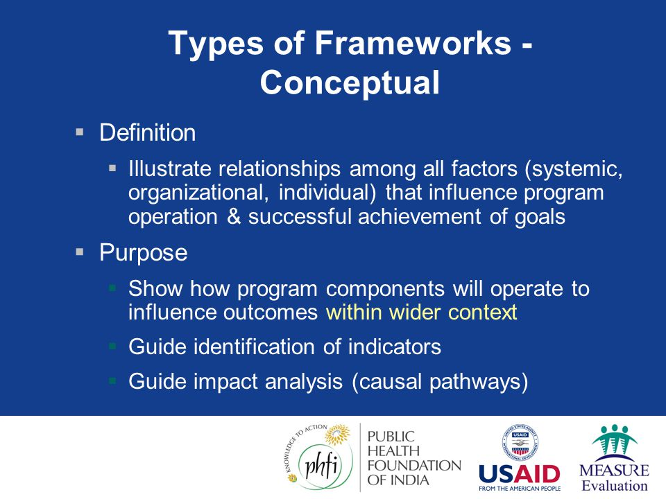 Types of Frameworks - Conceptual  Definition  Illustrate relationships among all factors (systemic, organizational, individual) that influence progr