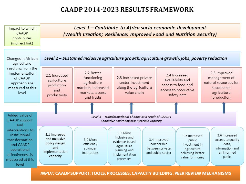 CAADP RESULTS FRAMEWORK Level 1 – Contribute to Africa socio-economic development (Wealth Creation; Resilience; Improved Food and Nutrition Security) Level 2 – Sustained Inclusive agriculture growth: agriculture growth, jobs, poverty reduction Level 3 – Transformational Change as a result of CAADP: Conducive environments; systemic capacity INPUT: CAADP SUPPORT, TOOLS, PROCESSES, CAPACITY BUILDING, PEER REVIEW MECHANISMS Impact to which CAADP contributes (indirect link) Changes in African agriculture resulting from the implementation of CAADP approach are measured at this level 2.1 Increased agriculture production and productivity 2.2 Better functioning agriculture markets, increased markets, access and trade 2.3 Increased private sector investment along the agriculture value chain 2.4 Increased availability and access to food and access to productive safety nets 2.5 Improved management of natural resources for sustainable agriculture production Added value of CAADP support and interventions to institutional transformation and CAADP operational effectiveness is measured at this level 3.3 More Inclusive and evidence based agriculture planning and implementation processes 3.2 More efficient / stronger institutions 3.1 Improved and Inclusive policy design and implementation capacity 3.4 Improved partnership between private and public sector 3.5 Increased public investment in agriculture achieving better value for money 3.6 Increased access to quality data, information and an informed public