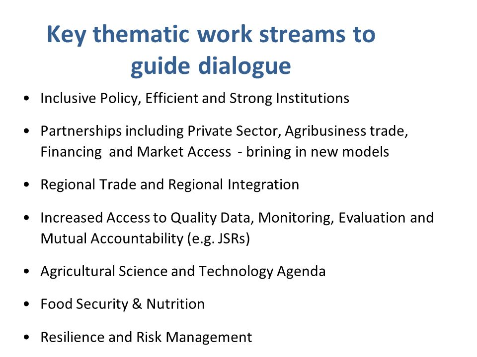 Key thematic work streams to guide dialogue Inclusive Policy, Efficient and Strong Institutions Partnerships including Private Sector, Agribusiness trade, Financing and Market Access - brining in new models Regional Trade and Regional Integration Increased Access to Quality Data, Monitoring, Evaluation and Mutual Accountability (e.g.
