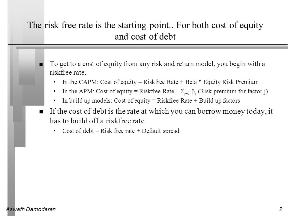 2 The risk free rate is the starting point.. For both cost of equity and cost of debt To get to a cost of equity from any risk and return model, you b