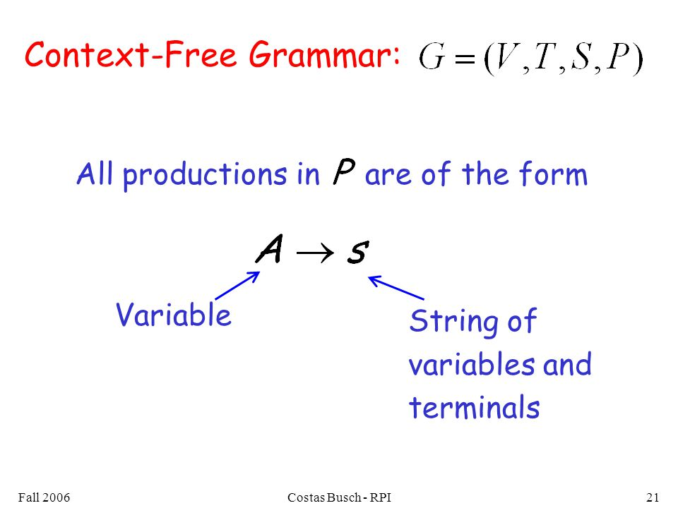 Fall 2006Costas Busch - RPI21 Context-Free Grammar: All productions in are of the form String of variables and terminals Variable