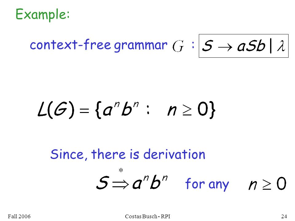 Fall 2006Costas Busch - RPI24 context-free grammar : Example: Since, there is derivation for any