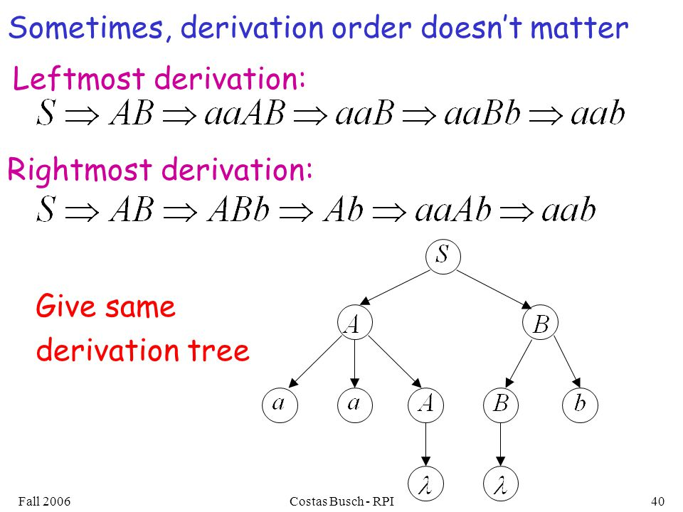 Fall 2006Costas Busch - RPI40 Give same derivation tree Sometimes, derivation order doesn't matter Leftmost derivation: Rightmost derivation: