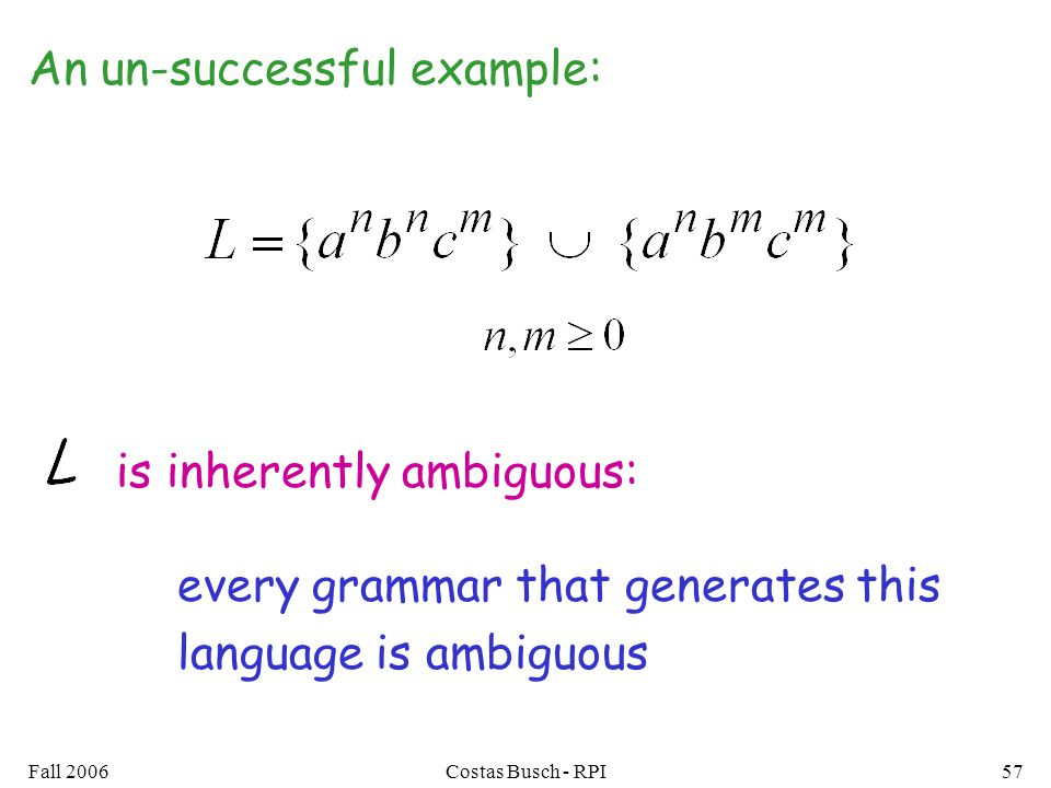 Fall 2006Costas Busch - RPI57 An un-successful example: every grammar that generates this language is ambiguous is inherently ambiguous: