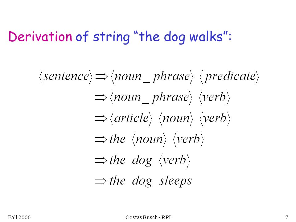 "Fall 2006Costas Busch - RPI7 Derivation of string ""the dog walks"":"