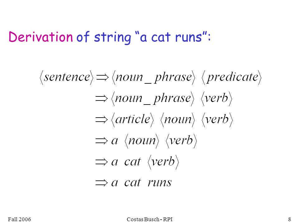 "Fall 2006Costas Busch - RPI8 Derivation of string ""a cat runs"":"