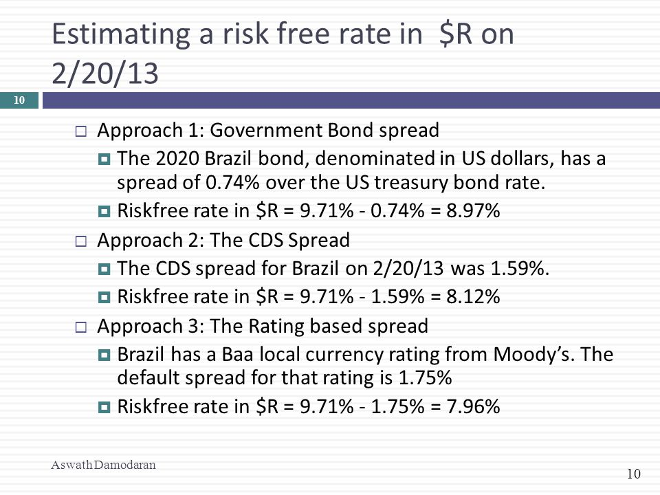 10 Estimating a risk free rate in $R on 2/20/13 Aswath Damodaran 10  Approach 1: Government Bond spread  The 2020 Brazil bond, denominated in US dol