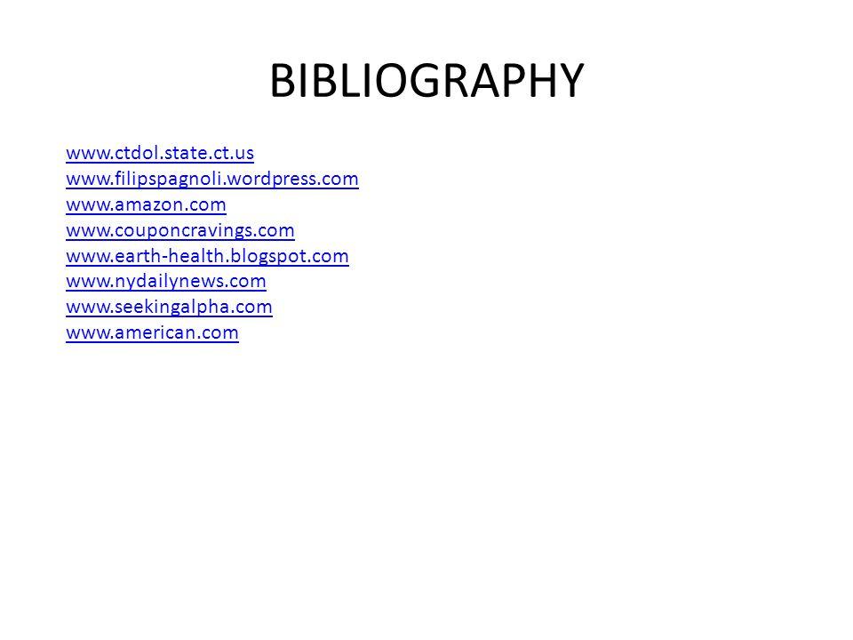 BIBLIOGRAPHY www.ctdol.state.ct.us www.filipspagnoli.wordpress.com www.amazon.com www.couponcravings.com www.earth-health.blogspot.com www.nydailynews.com www.seekingalpha.com www.american.com
