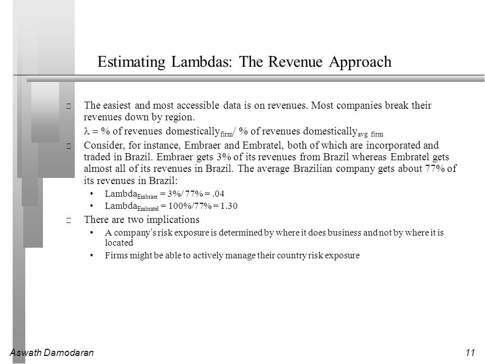 Aswath Damodaran11 Estimating Lambdas: The Revenue Approach The easiest and most accessible data is on revenues.