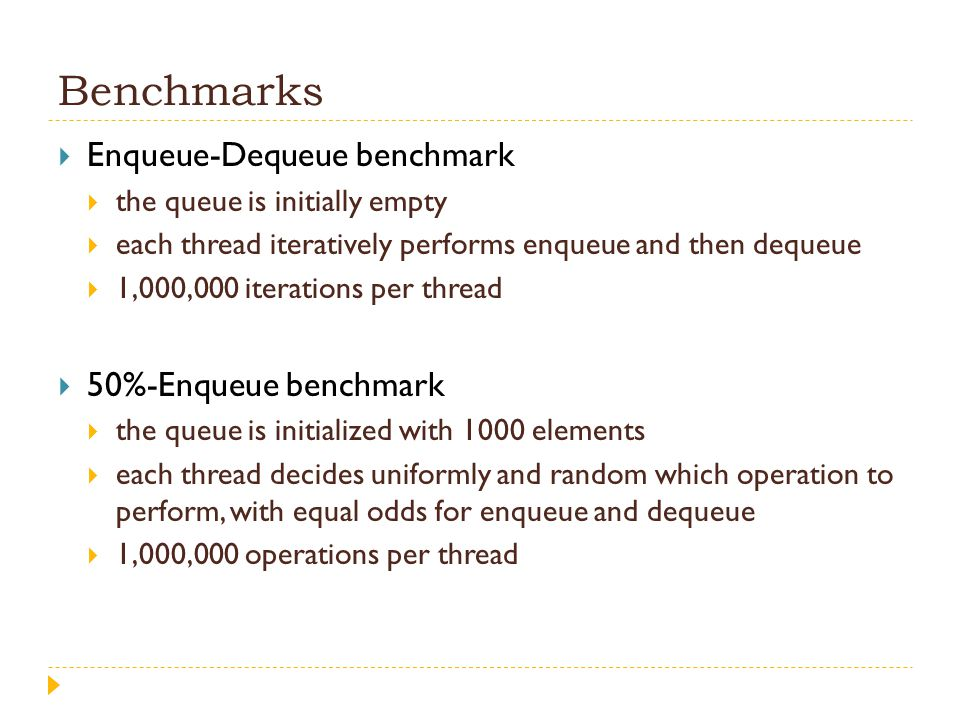 Benchmarks  Enqueue-Dequeue benchmark  the queue is initially empty  each thread iteratively performs enqueue and then dequeue  1,000,000 iteratio