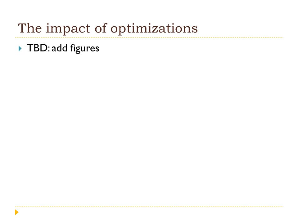 The impact of optimizations  TBD: add figures