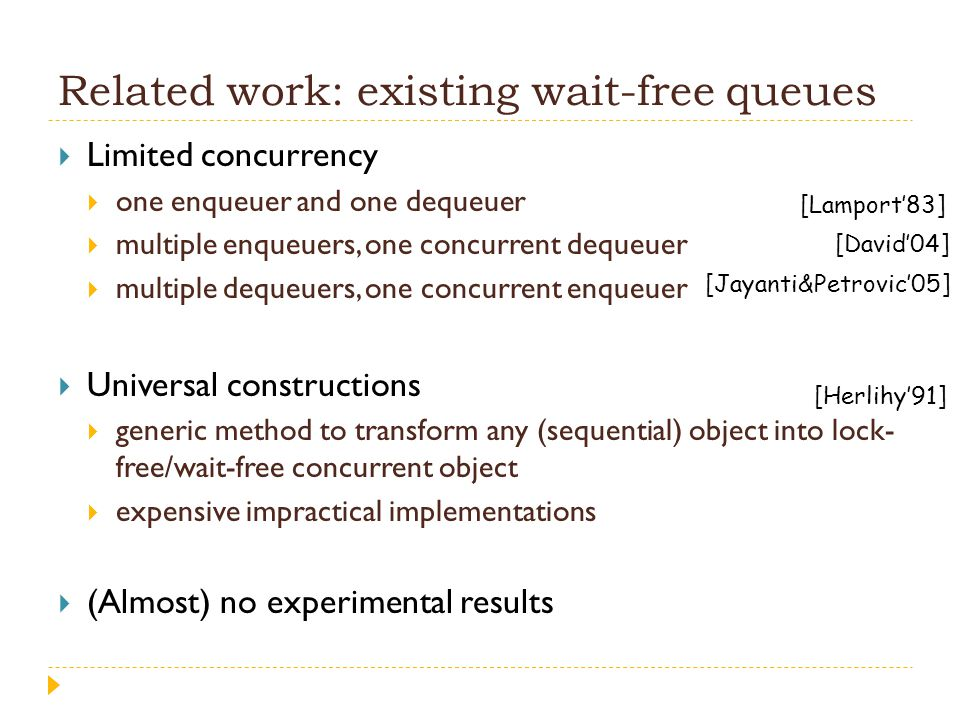 Related work: existing wait-free queues  Limited concurrency  one enqueuer and one dequeuer  multiple enqueuers, one concurrent dequeuer  multiple