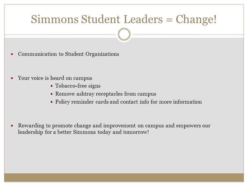 Simmons Student Leaders = Change.