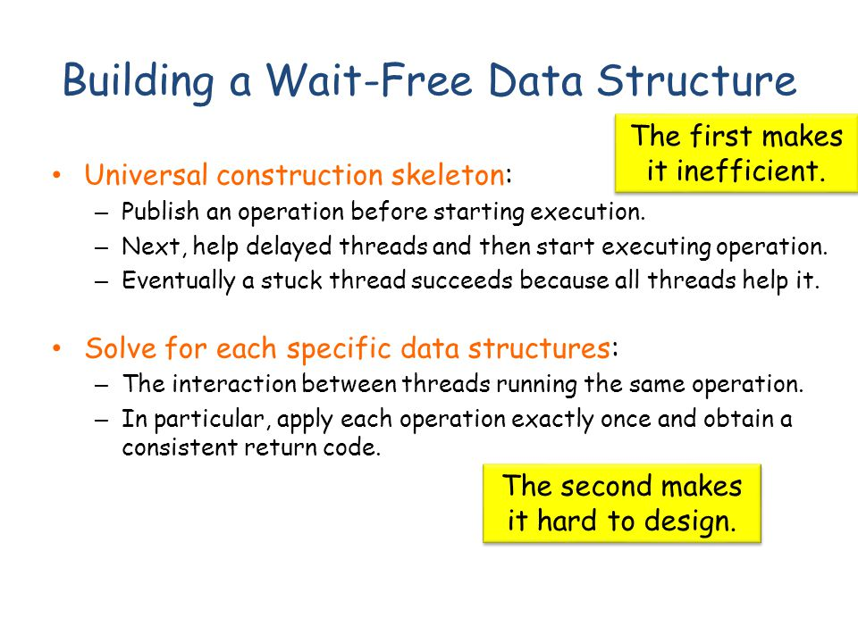 Building a Wait-Free Data Structure Universal construction skeleton: – Publish an operation before starting execution. – Next, help delayed threads an