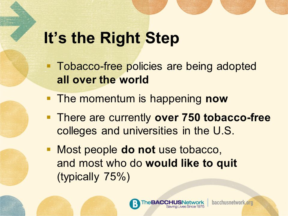 It's the Right Step  Tobacco-free policies are being adopted all over the world  The momentum is happening now  There are currently over 750 tobacco-free colleges and universities in the U.S.