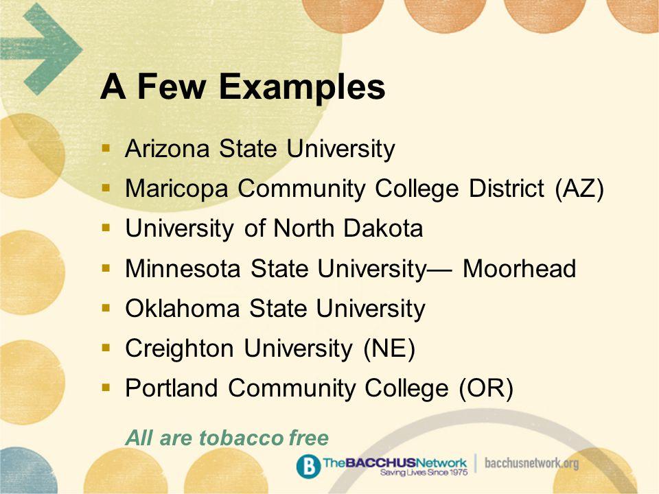 A Few Examples  Arizona State University  Maricopa Community College District (AZ)  University of North Dakota  Minnesota State University— Moorhead  Oklahoma State University  Creighton University (NE)  Portland Community College (OR) All are tobacco free