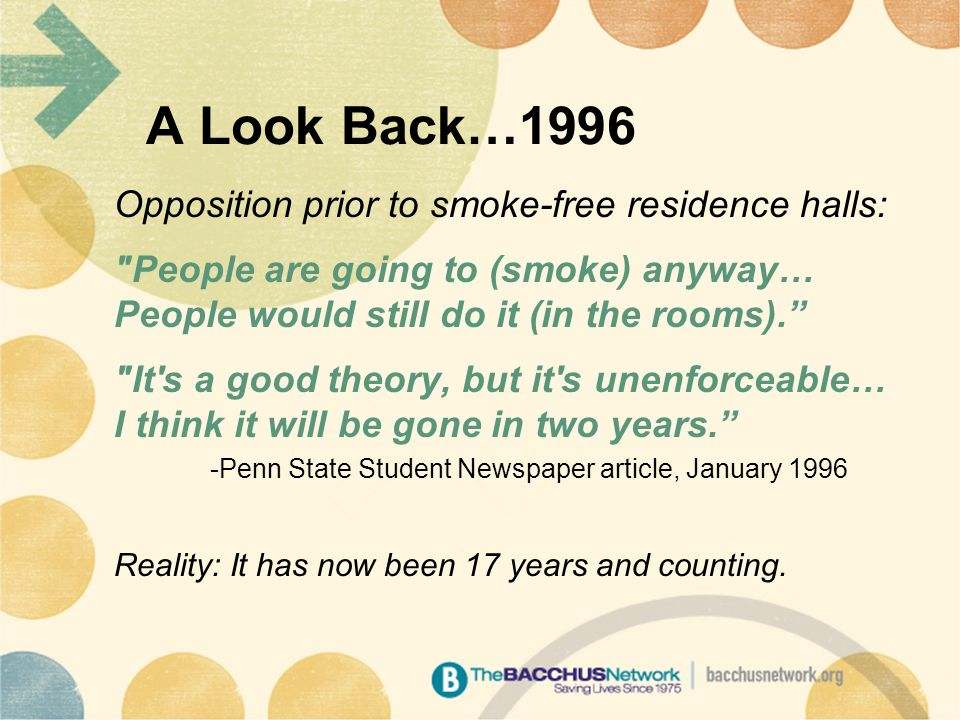 A Look Back…1996 Opposition prior to smoke-free residence halls: People are going to (smoke) anyway… People would still do it (in the rooms). It s a good theory, but it s unenforceable… I think it will be gone in two years. -Penn State Student Newspaper article, January 1996 Reality: It has now been 17 years and counting.