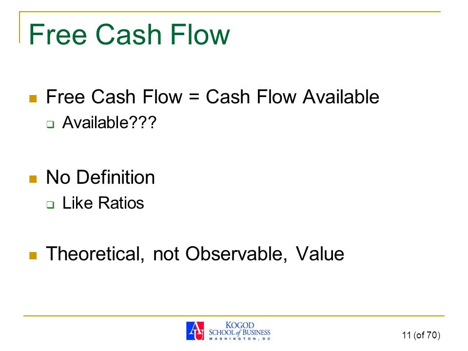 Free Cash Flow Free Cash Flow = Cash Flow Available  Available .