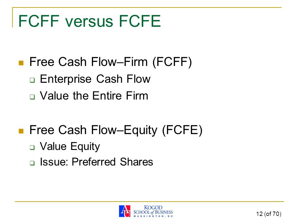 FCFF versus FCFE Free Cash Flow–Firm (FCFF)  Enterprise Cash Flow  Value the Entire Firm Free Cash Flow–Equity (FCFE)  Value Equity  Issue: Preferred Shares 12 (of 70)