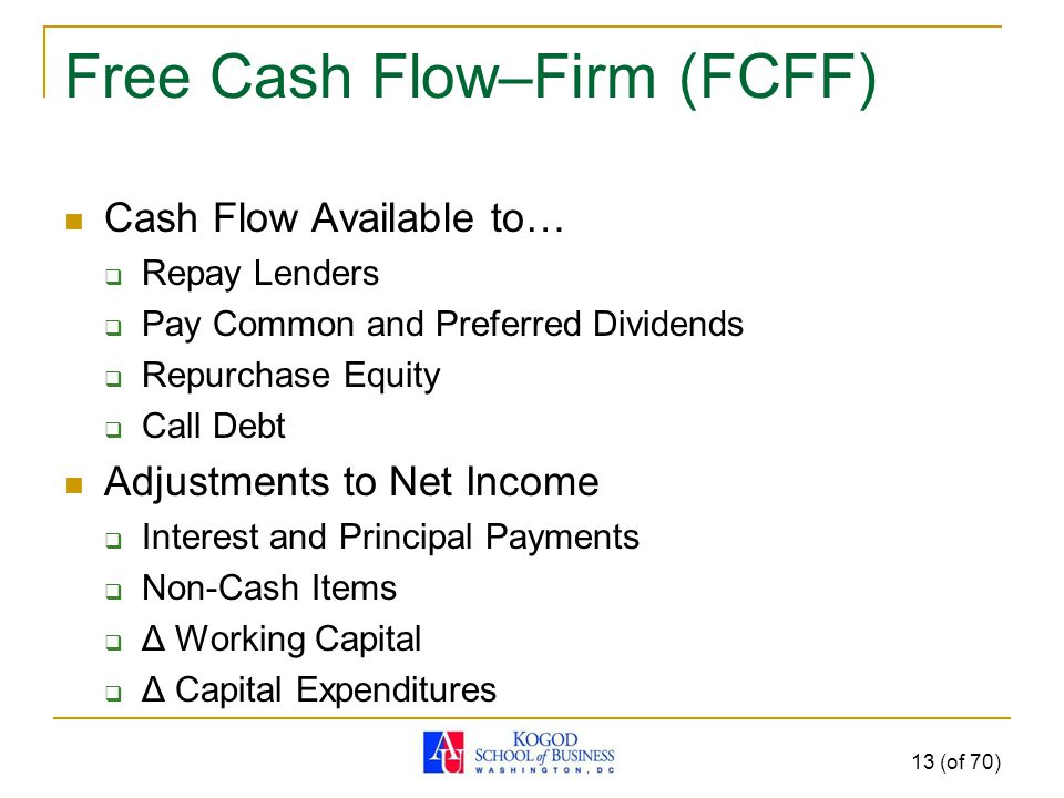 Free Cash Flow–Firm (FCFF) Cash Flow Available to…  Repay Lenders  Pay Common and Preferred Dividends  Repurchase Equity  Call Debt Adjustments to Net Income  Interest and Principal Payments  Non-Cash Items  Δ Working Capital  Δ Capital Expenditures 13 (of 70)