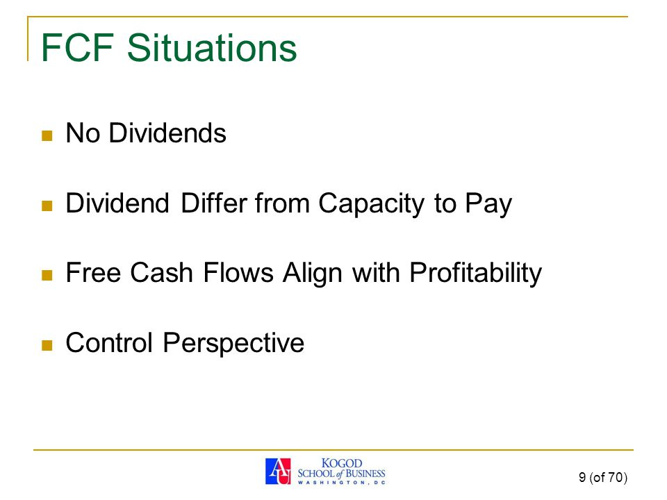 FCF Situations No Dividends Dividend Differ from Capacity to Pay Free Cash Flows Align with Profitability Control Perspective 9 (of 70)