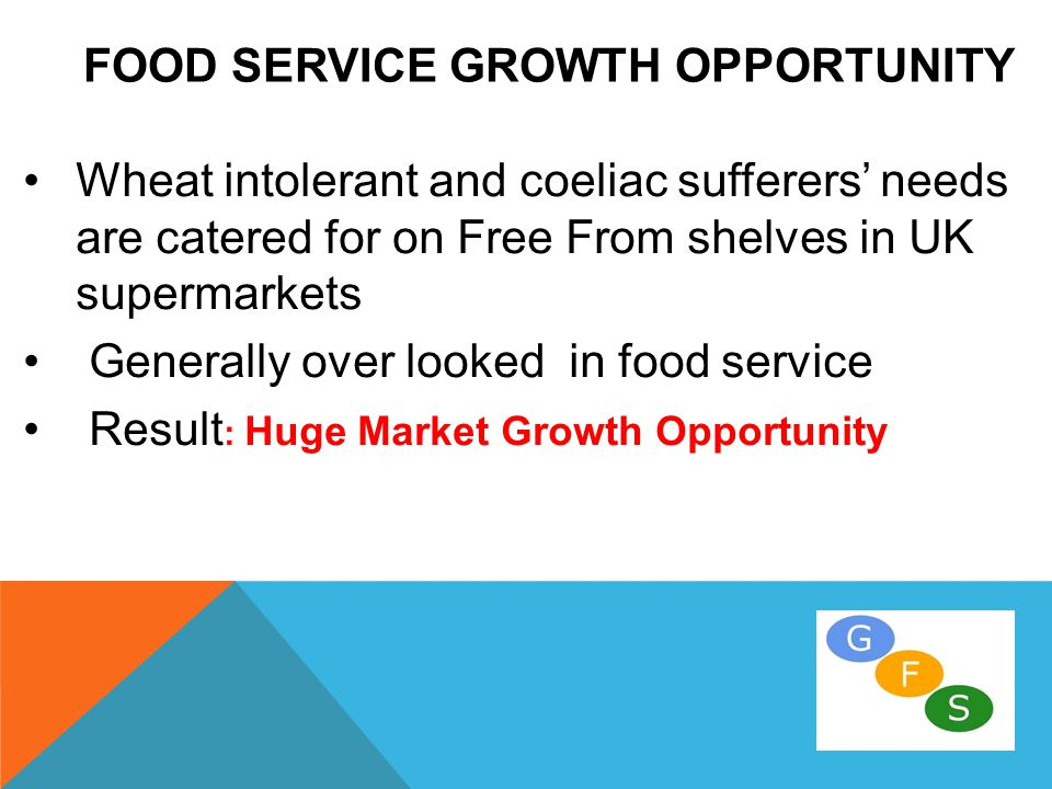 FOOD SERVICE GROWTH OPPORTUNITY Wheat intolerant and coeliac sufferers' needs are catered for on Free From shelves in UK supermarkets Generally over looked in food service Result : Huge Market Growth Opportunity