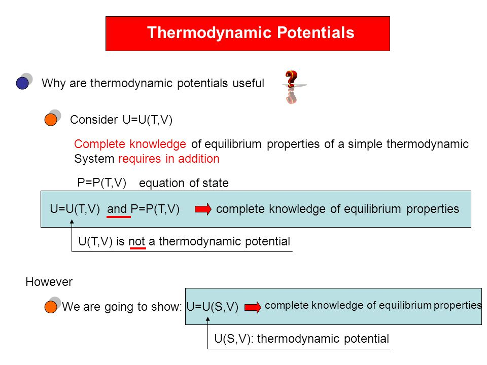 Thermodynamic Potentials Why are thermodynamic potentials useful Consider U=U(T,V) Complete knowledge of equilibrium properties of a simple thermodyna