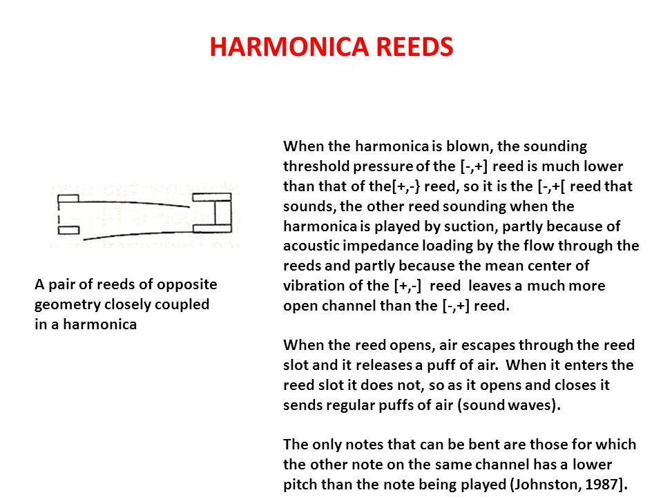 HARMONICA REEDS A pair of reeds of opposite geometry closely coupled in a harmonica When the harmonica is blown, the sounding threshold pressure of the [-,+] reed is much lower than that of the[+,-} reed, so it is the [-,+[ reed that sounds, the other reed sounding when the harmonica is played by suction, partly because of acoustic impedance loading by the flow through the reeds and partly because the mean center of vibration of the [+,-] reed leaves a much more open channel than the [-,+] reed.