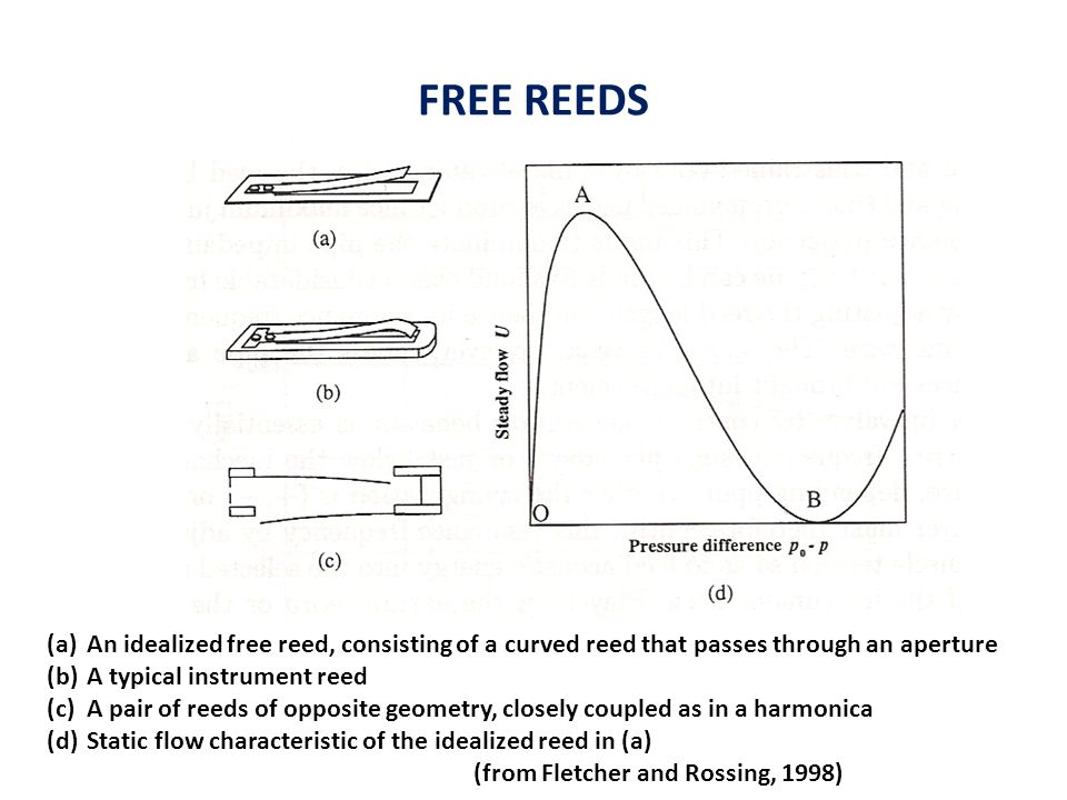 FREE REEDS (a)An idealized free reed, consisting of a curved reed that passes through an aperture (b)A typical instrument reed (c)A pair of reeds of opposite geometry, closely coupled as in a harmonica (d)Static flow characteristic of the idealized reed in (a) (from Fletcher and Rossing, 1998)