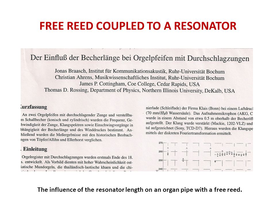FREE REED COUPLED TO A RESONATOR The influence of the resonator length on an organ pipe with a free reed.
