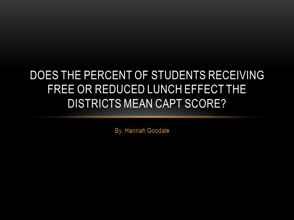By. Hannah Goodale DOES THE PERCENT OF STUDENTS RECEIVING FREE OR REDUCED LUNCH EFFECT THE DISTRICTS MEAN CAPT SCORE?