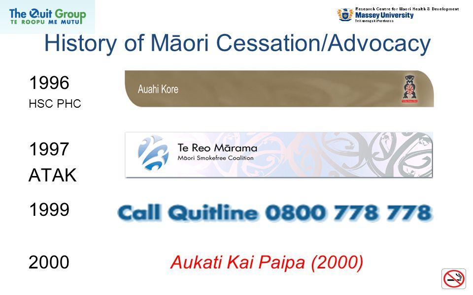 History of Māori Cessation/Advocacy 1996 HSC PHC 1997 ATAK 1999 2000Aukati Kai Paipa (2000)