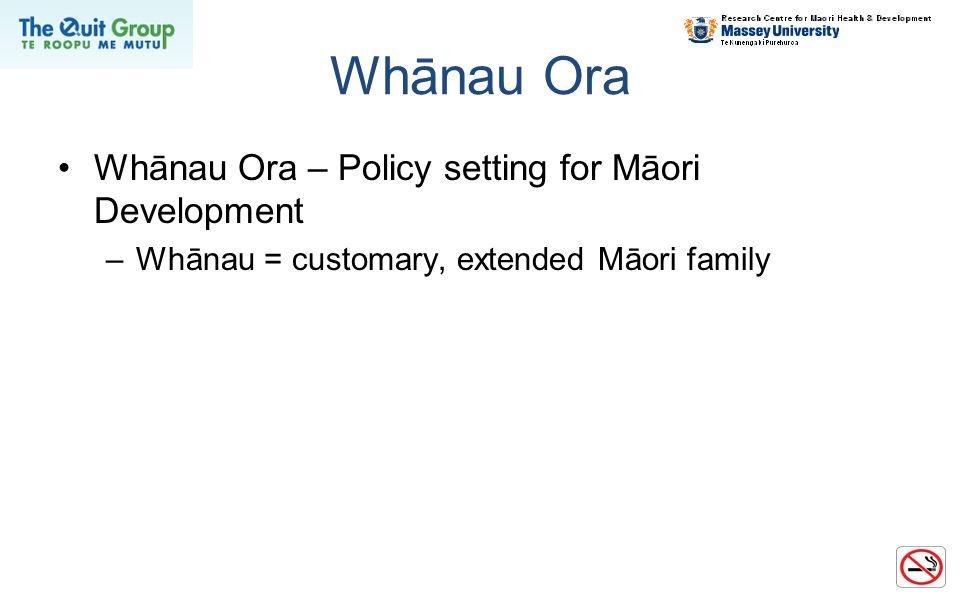 Whānau Ora Whānau Ora – Policy setting for Māori Development –Whānau = customary, extended Māori family