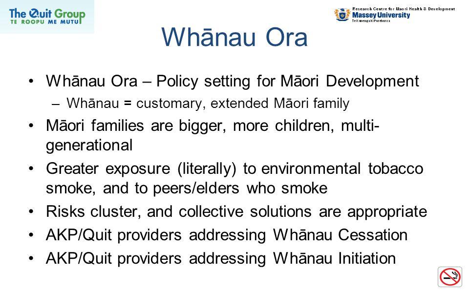 Whānau Ora Whānau Ora – Policy setting for Māori Development –Whānau = customary, extended Māori family Māori families are bigger, more children, mult