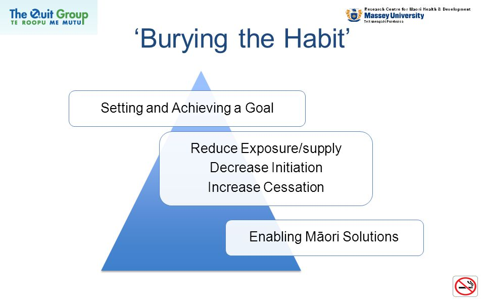 'Burying the Habit' Setting and Achieving a Goal Reduce Exposure/supply Decrease Initiation Increase Cessation Enabling Māori Solutions