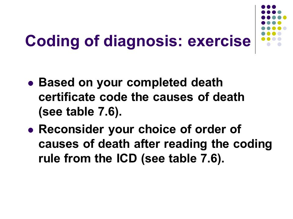 Coding of diagnosis: exercise Based on your completed death certificate code the causes of death (see table 7.6). Reconsider your choice of order of c