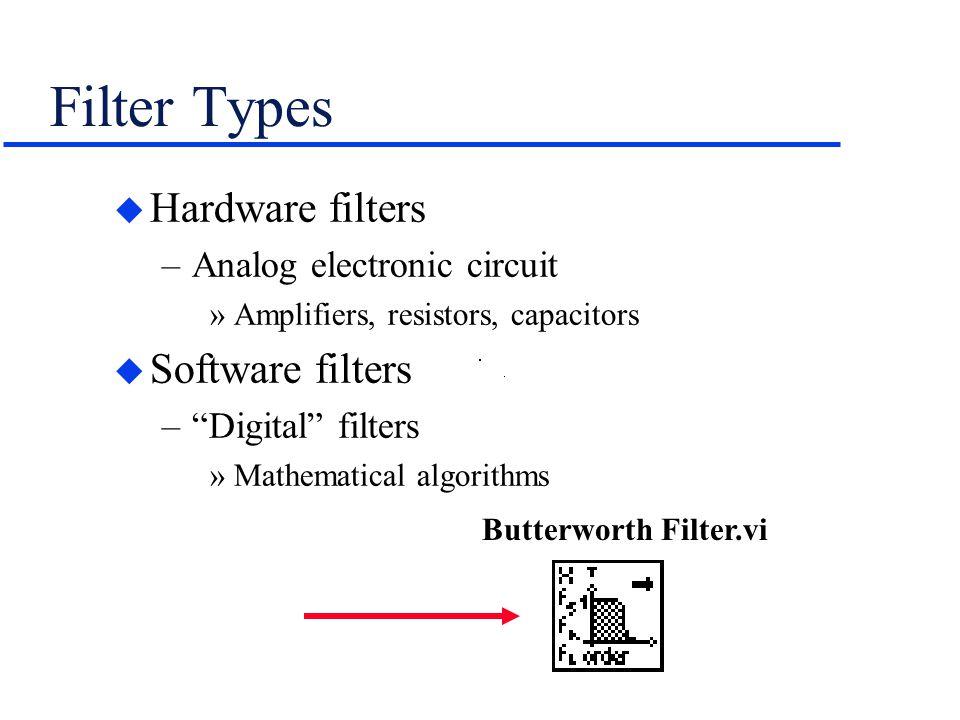 "Filter Types u Hardware filters –Analog electronic circuit »Amplifiers, resistors, capacitors u Software filters –""Digital"" filters »Mathematical algo"