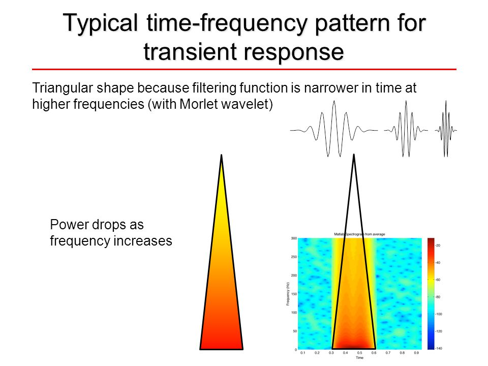 Triangular shape because filtering function is narrower in time at higher frequencies (with Morlet wavelet) Typical time-frequency pattern for transient response Power drops as frequency increases