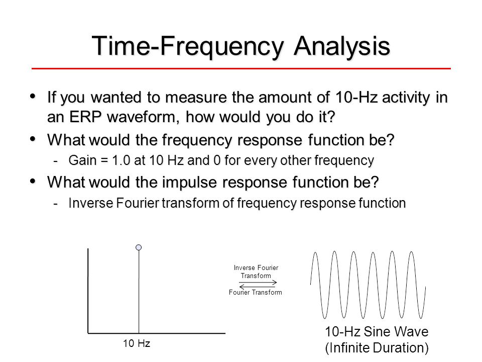 Time-Frequency Analysis If you wanted to measure the amount of 10-Hz activity in an ERP waveform, how would you do it.