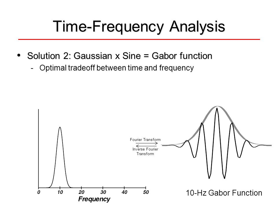 Time-Frequency Analysis Solution 2: Gaussian x Sine = Gabor function Solution 2: Gaussian x Sine = Gabor function -Optimal tradeoff between time and frequency 10-Hz Gabor Function Fourier Transform Inverse Fourier Transform