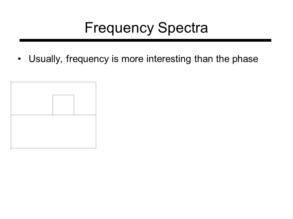 Frequency Spectra Usually, frequency is more interesting than the phase
