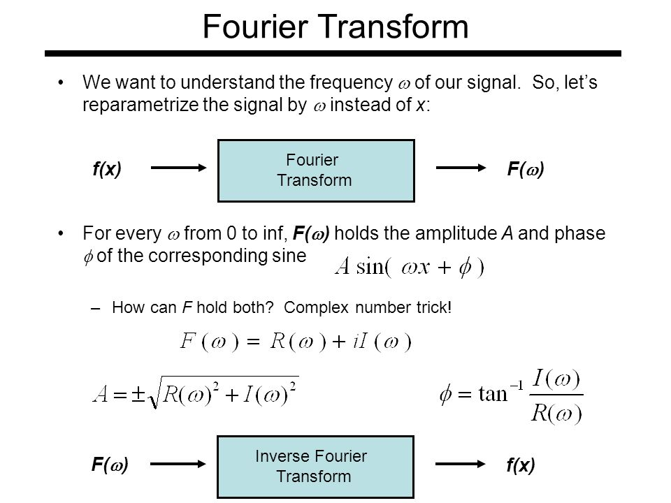 Fourier Transform We want to understand the frequency  of our signal.