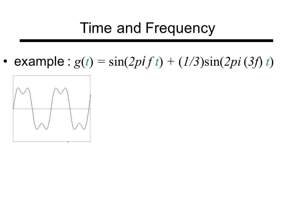 Time and Frequency = + example : g(t) = sin(2p i f t) + (1/3)sin(2pi (3f) t)